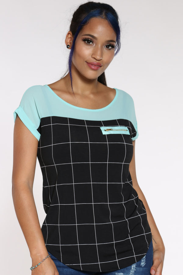 Women's Window Print Front Zip Top - Seafoam-VIM.COM