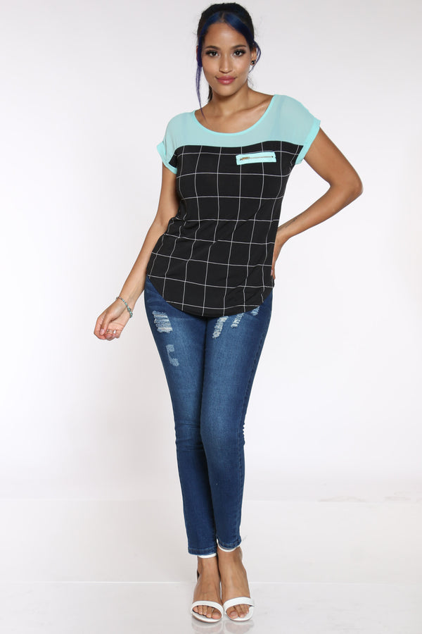 Women's Window Print Front Zip Top - Seafoam