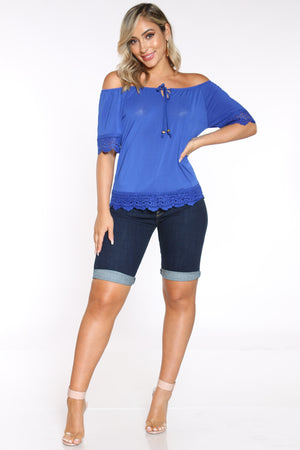 Women's Crochet Trim Front Tie Top - Royal