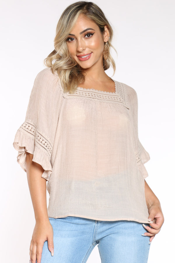 Women's Crochet Trim Top - Khaki-VIM.COM