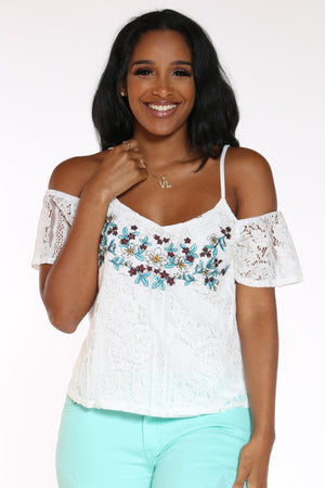 Women's Crochet Floral Off Shoulder Top - White-VIM.COM