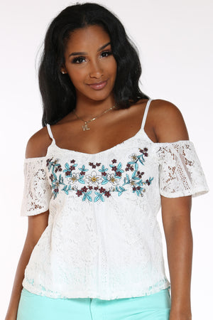 Women's Crochet Floral Off Shoulder Top - White