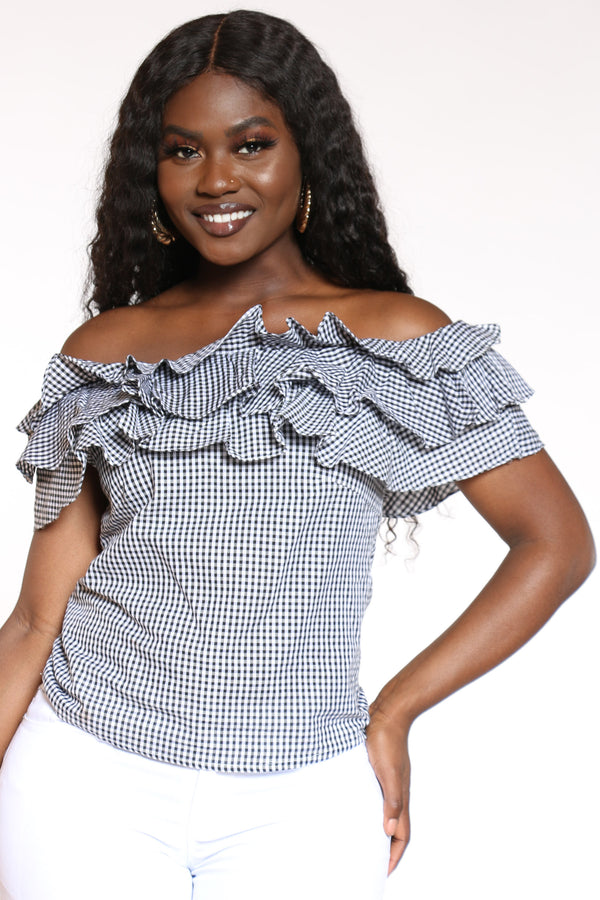 Women's Ruffle Off Shoulder Plaid Top - Black-VIM.COM