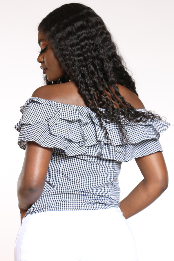 Women's Ruffle Off Shoulder Plaid Top - Black