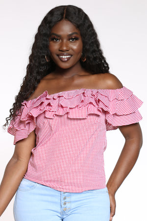 Women's Ruffle Off Shoulder Plaid Top - Red-VIM.COM