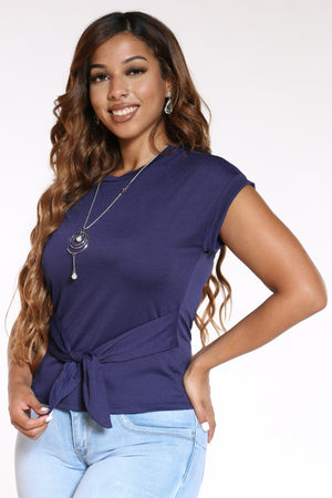 Women's Front Tie Chain Top - Navy