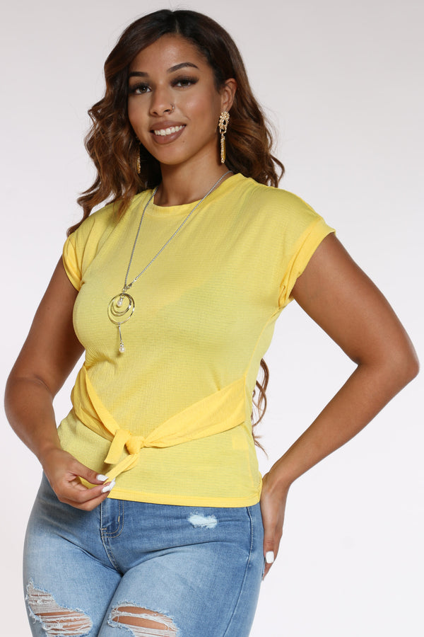 Women's Front Tie Chain Top - Yellow-VIM.COM
