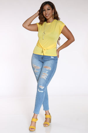 Women's Front Tie Chain Top - Yellow