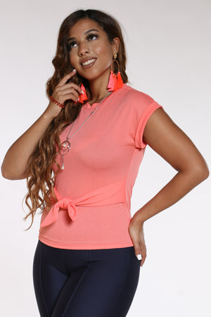 Women's Front Tie Chain Top - Coral
