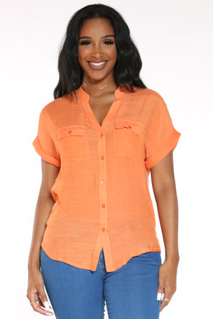 Women's Solid Button Down Shirt - Orange-VIM.COM