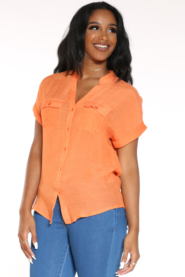 Women's Solid Button Down Shirt - Orange