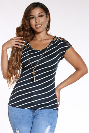 Women's Striped Lattice Shoulder Top - Black-VIM.COM