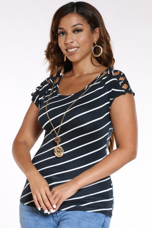 Women's Striped Lattice Shoulder Top - Black