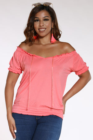 Women's Front Tie Rouched Top - Coral-VIM.COM