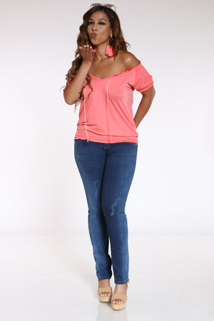 Women's Front Tie Rouched Top - Coral
