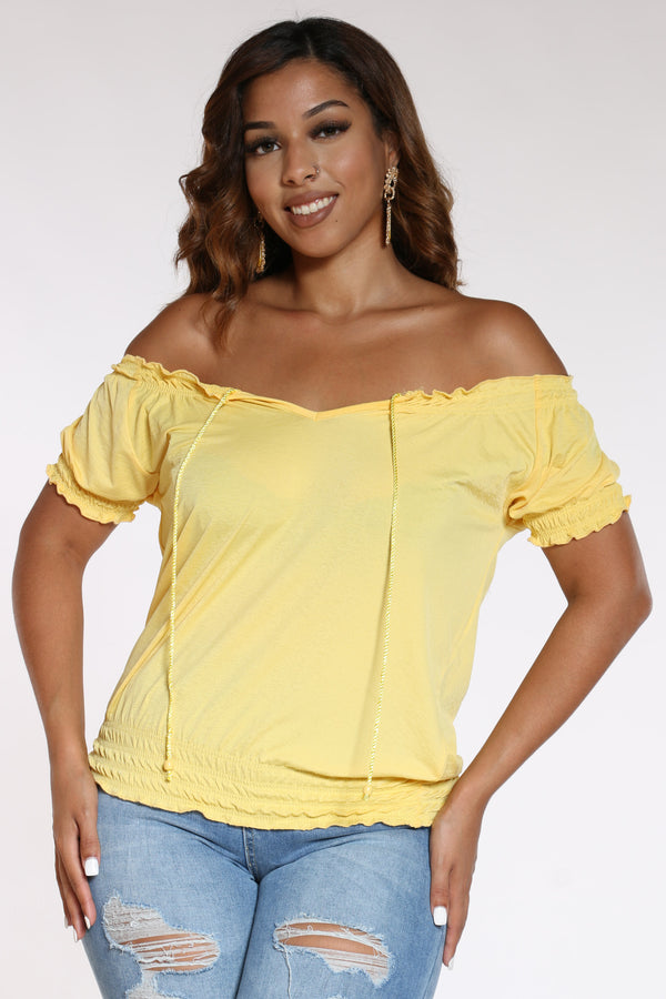 Women's Front Tie Rouched Top - Yellow-VIM.COM