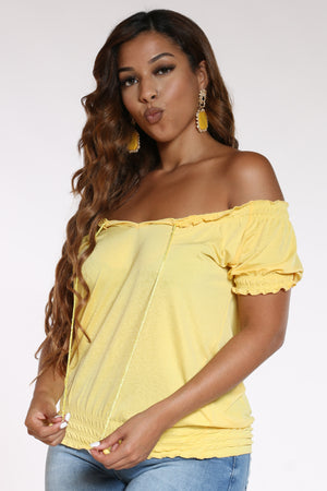 Women's Front Tie Rouched Top - Yellow