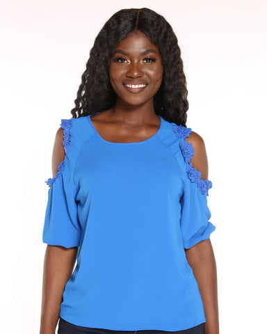 VIM VIXEN Gerda Off Shoulder Crochet Top - Royal - ShopVimVixen.com