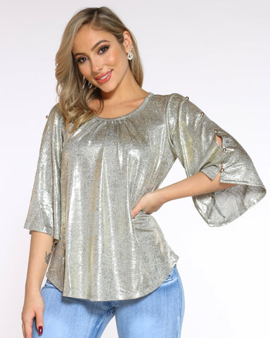 Women's Metallic Shimmer Top - Gold-VIM.COM