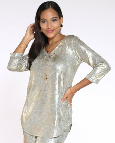 Women's Lora Metallic Shimmer Chain Top - Gold-VIM.COM