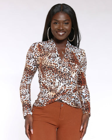 Women's Deep V Cheetah Print Top - Brown-VIM.COM