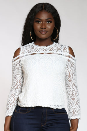 Women's Lace Cold Shoulder Top - White-VIM.COM