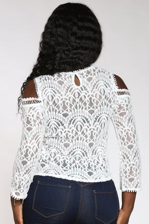 Women's Lace Cold Shoulder Top - White