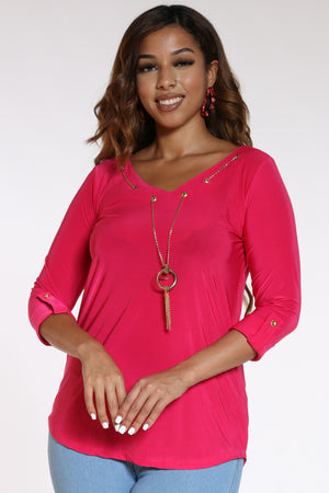 Women's Attached Chain Top - Fucshia-VIM.COM