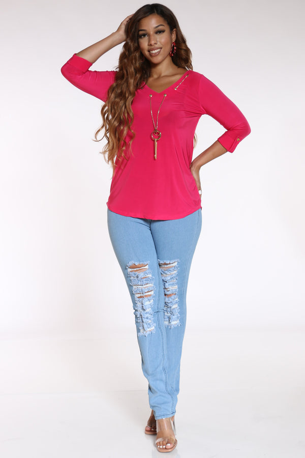 Women's Attached Chain Top - Fuchsia