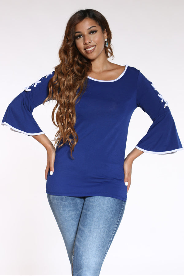 Women's Lace Up Bell Sleeve Top - Royal-VIM.COM
