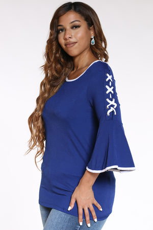 Women's Lace Up Bell Sleeve Top - Royal