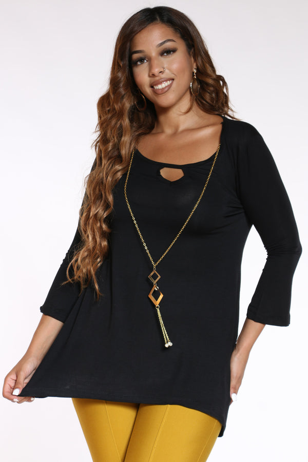 Women's Chain Top - Black-VIM.COM