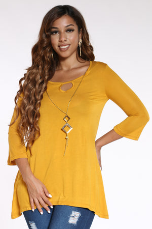 Women's Chain Top - Mustard-VIM.COM
