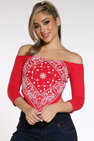 Women's Bandana Off Shoulder Top - Red-VIM.COM