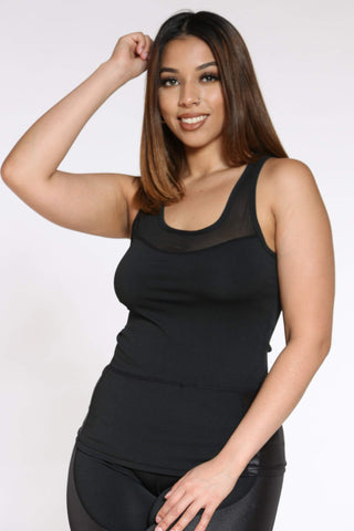Women's Daria Mesh Active Tank Top - Black-VIM.COM