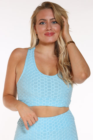 Women's Honey Comb Active Bra Top - Turquoise-VIM.COM