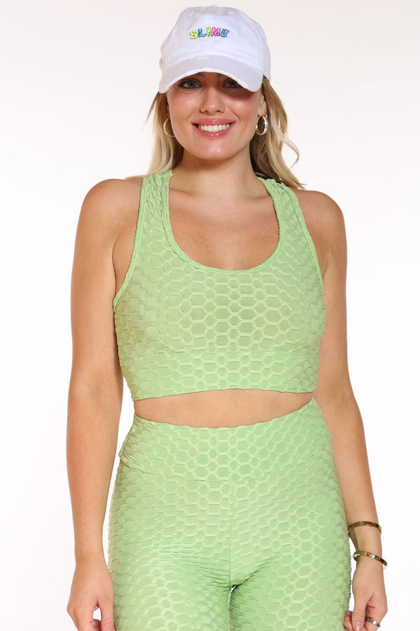 Women's Honey Comb Active Bra Top - Lime-VIM.COM