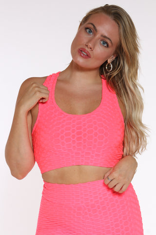 Women's Honey Comb Active Bra Top - Orange-VIM.COM