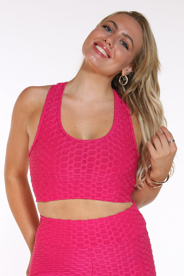 Women's Honey Comb Active Bra Top - Fuschia-VIM.COM