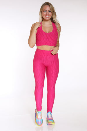 Women's Honey Comb Active Bra Top - Fuchsia