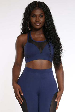 Women's Mesh Trim Bra Top - Navy-VIM.COM