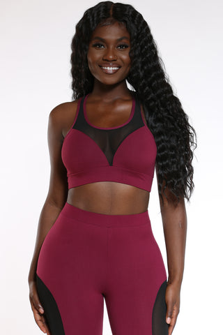 Women's Mesh Trim Bra Top - Wine-VIM.COM