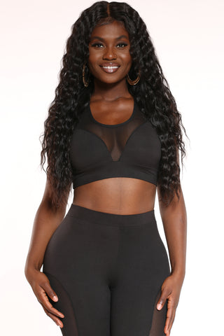 Women's Mesh Trim Bra Top - Black-VIM.COM