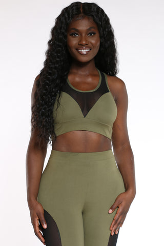 Women's Mesh Trim Bra Top - Olive-VIM.COM