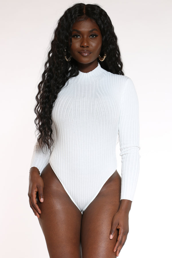 Women's Sweater Bodysuit - White