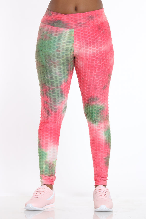 Laura Honey Comb Legging - Pink-VIM.COM
