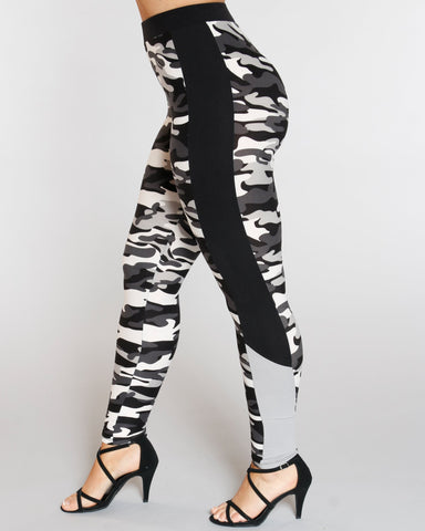 VIM VIXEN Camo Color Block Panel Legging - Black - ShopVimVixen.com