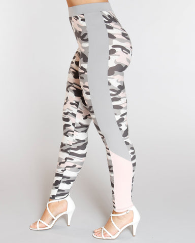 VIM VIXEN Camo Color Block Panel Legging - Pink - ShopVimVixen.com