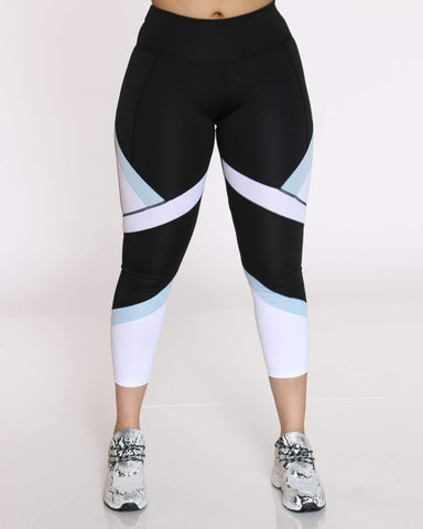 Women's Color Block Legging - Black Blue