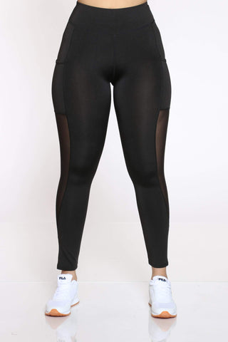 Women's Clemma Active Side Mesh Pocket Leggings - Black